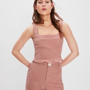 Zara Red Checkered Crop Top